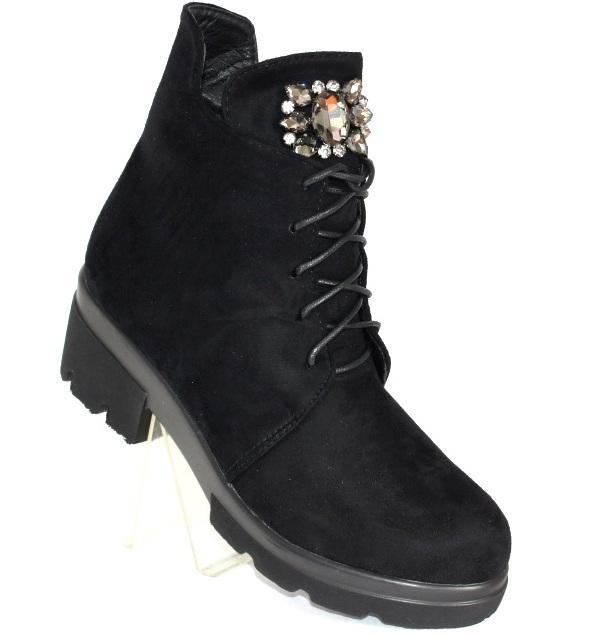 купить женские замшевые ботинки на шнуровке в интернет магазине городок