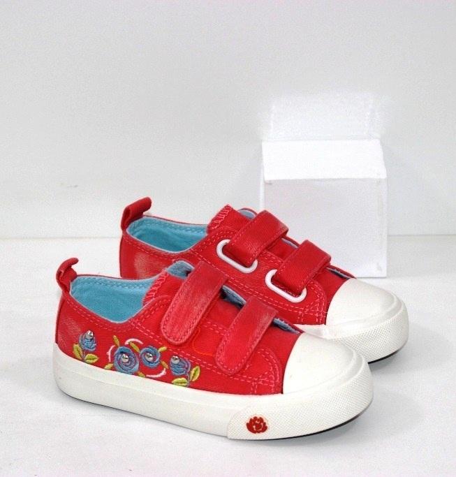 Купить недорого детские красные кеды на двух липучках размеры 26 27 28 29 30