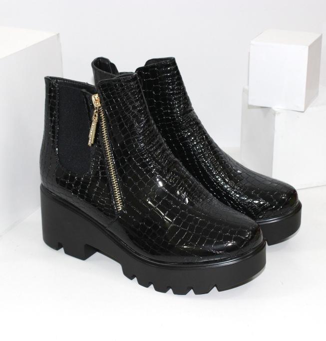 Лаковые осенние ботинки ABA1-3 - купить полуботинки женские недорогие в интернете