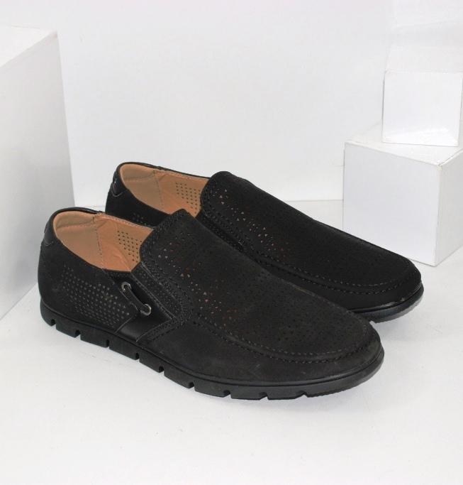 Купити чоловічі літні мокасини великих розмірів в чорному кольорі