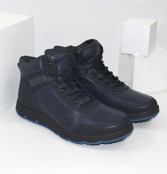 Мужские синие ботинки на зиму, на шнурке и молнии