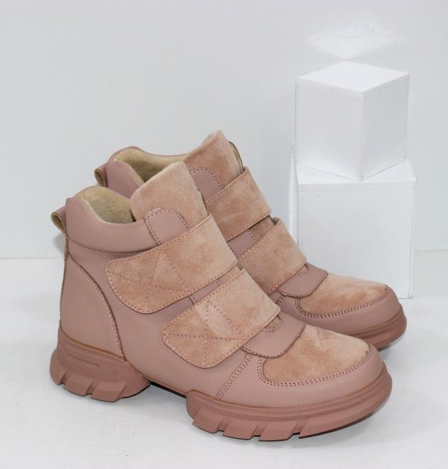 Купить женские осенние ботинки на липучках и молнии в пудровом цвете