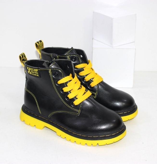 Купить подростковые ботинки для девочек на контрастной желтой подошве с желтыми шнурками