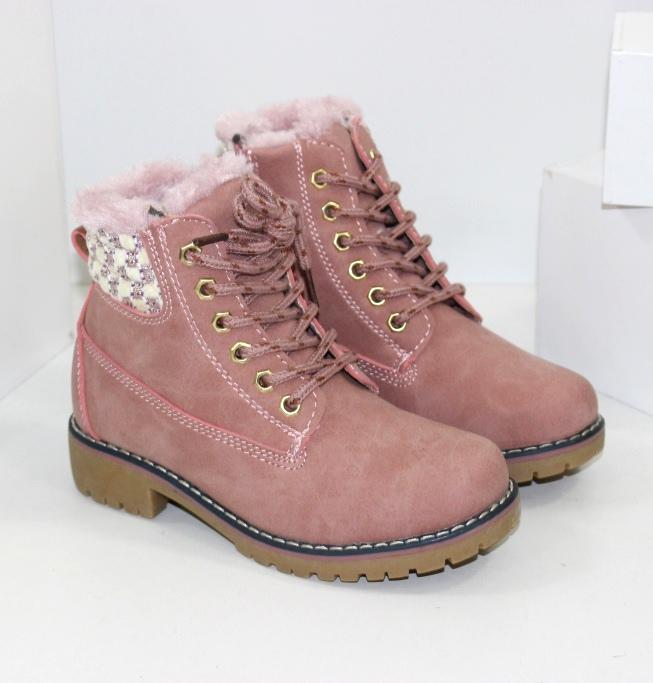 Ботинки для девочек цвета пудры размеры 31 32 33 34 35 36