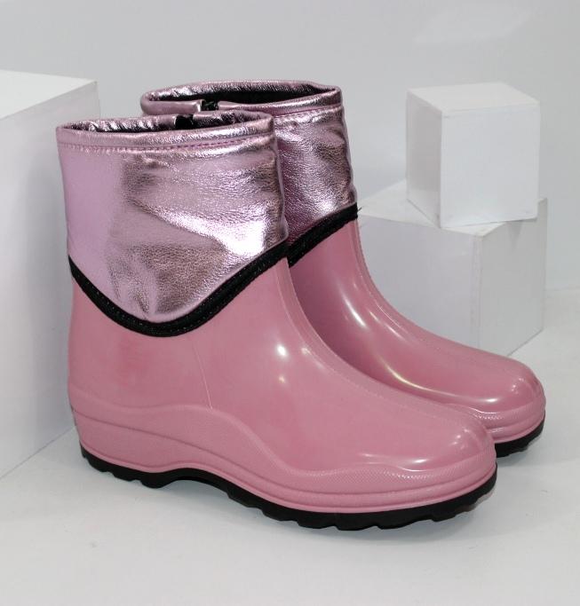 Рожеві гумові чоботи з блискавкою
