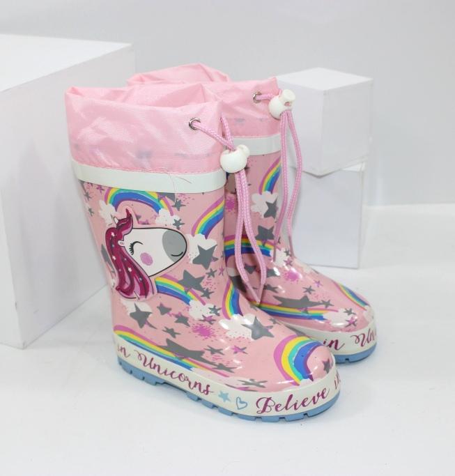 Гумові чоботи для дівчаток із затягуванням