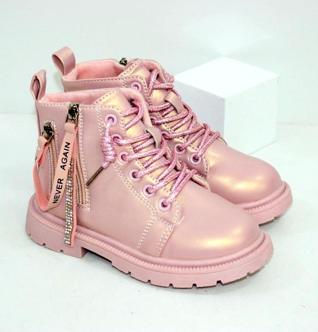 Розовые ботинки для девочек на осень с замком и шнурками