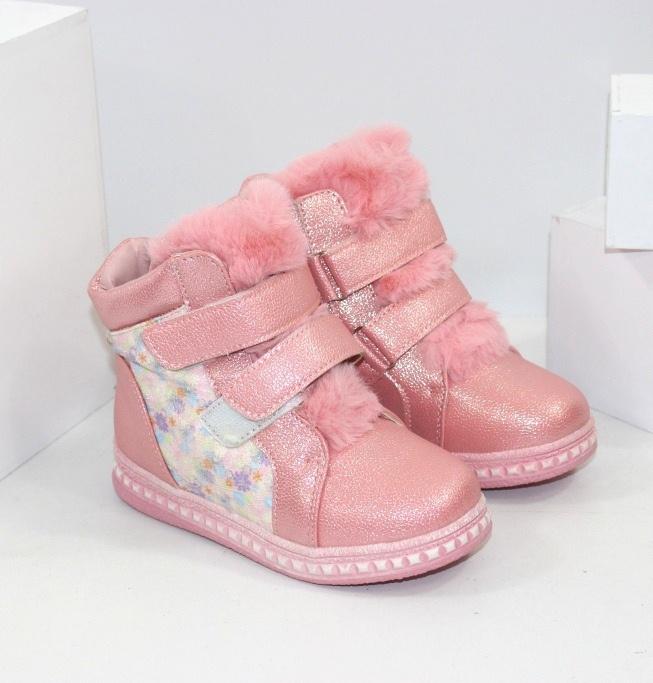 Зимові дитячі черевики для дівчинки на двох липучках і блискавки