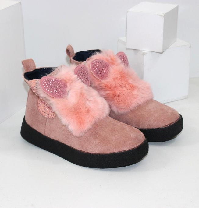 Ботинки для девочки с ушками и пушком E3381-4 - купить обувь в розницу низкие цены в интернет магазине