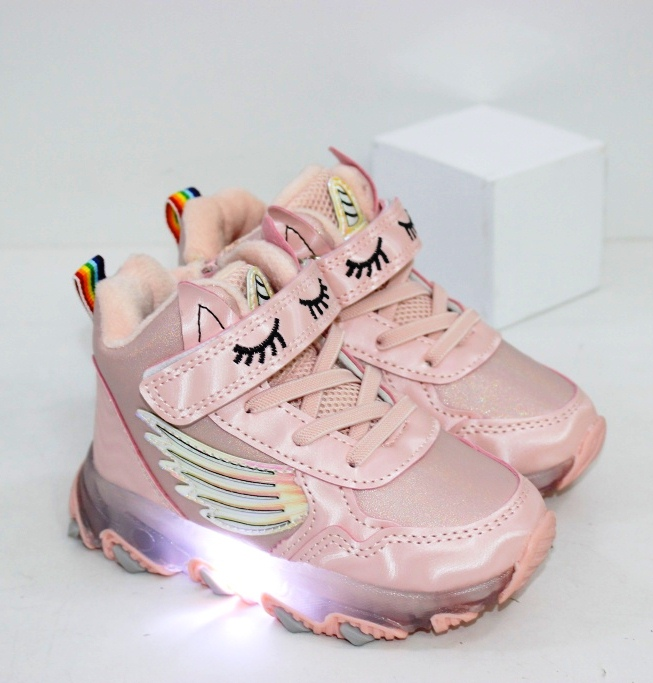 Купить розовые ботинки хайтопы для девочек с фонариками размеры 21 22 23 24 25 26