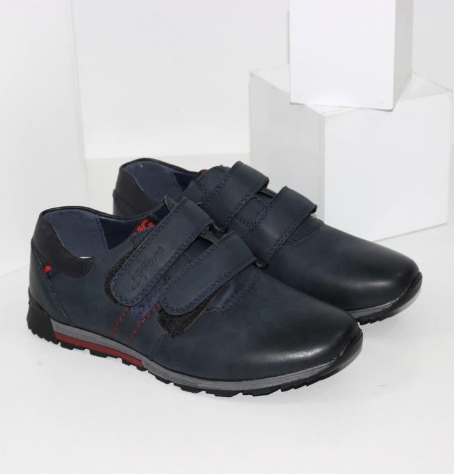 Туфлі для хлопчиків на двох липучках синього кольору