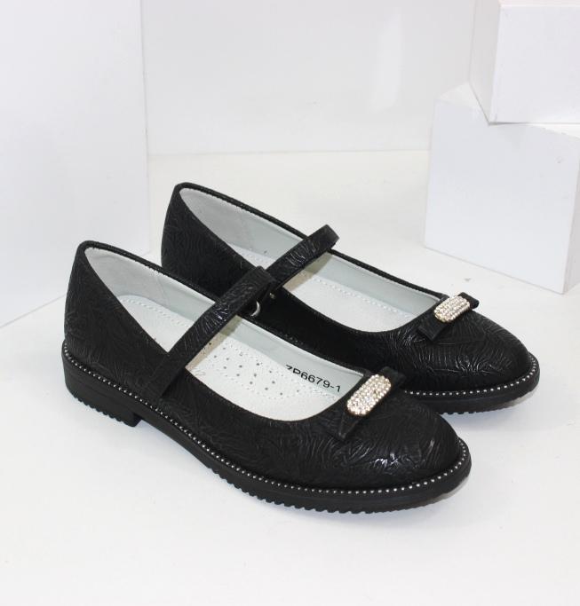 Купить чёрные туфли на ремешке для девочки