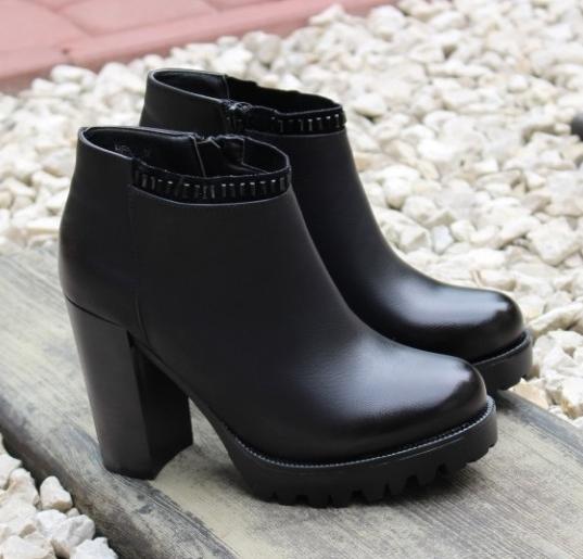 592a548b8 ... легко Супер красивые женские демисезонные ботинки артикул ВМ35 черный -  купить осенние ботинки на каблуке, ...