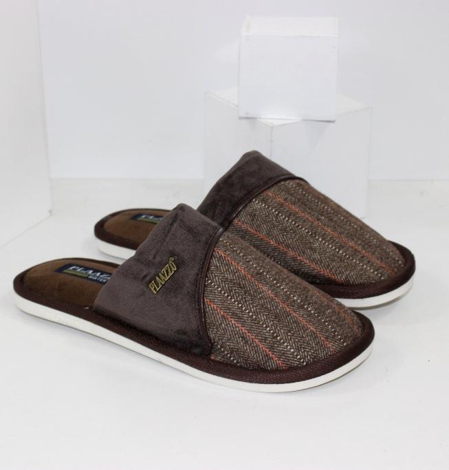 Чоловічі тапочки сабо з закритим носком коричневі