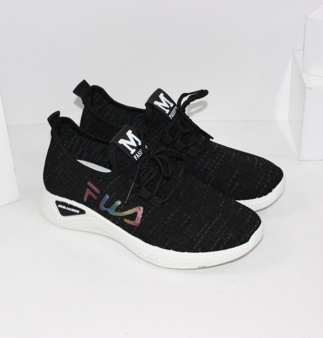 Текстильные женские кроссовки 12-30-black - купить со скидкой в интернет магазине
