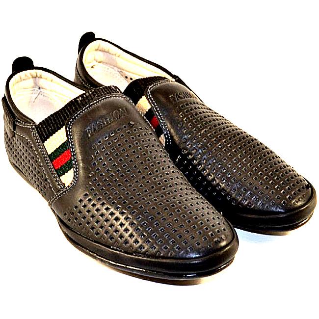 63f9ae604 Черный мокасин перфорированный на мальчика с резинкой артикул 11613-1 -  купить детскую обувь недорого в Украине