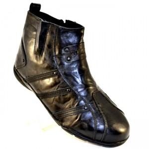 Зимние мужские кожаные ботинки  на цигейке артикул 960 черный - купить зимняя обувь мужская в интернет магазине