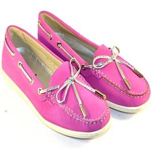 Мокасины женские в розовом цвете с шнурком на сайте обуви Городок
