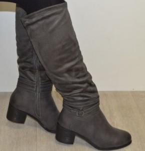 Женские весенние сапоги на среднем каблуке артикул 5315 серый - купить осенние сапоги со скидкой, по цене производителя