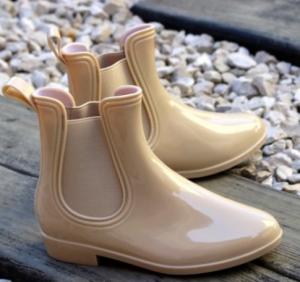 Бежевые силиконовые сапожки для девочек артикул 9204 - резиновые сапоги купить в Днепре недорого