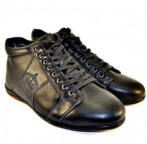 Мужские зимние ботинки  с логотипом на шнуровке артикул  615-1 черный - купить зимняя обувь мужская в интернет магазине