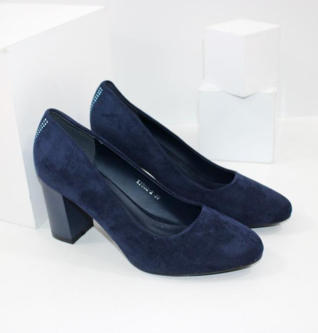 Замшеві сині туфлі на товстому каблуці