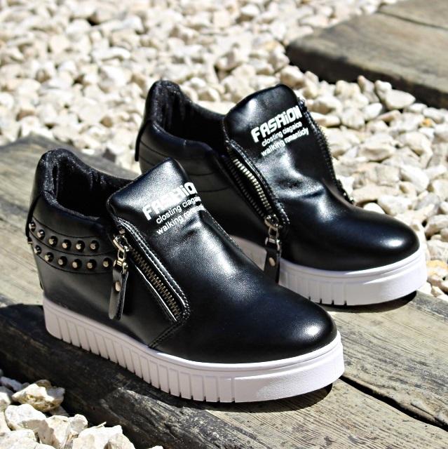 0210651c Модные молодежные ботинки на танкетке с логотипом и двумя молниями артикул  lxc 7171 черный - купить полуботинки ...