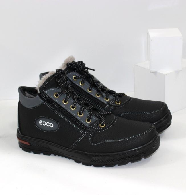 Мужские зимние ботинки черные на шнурке