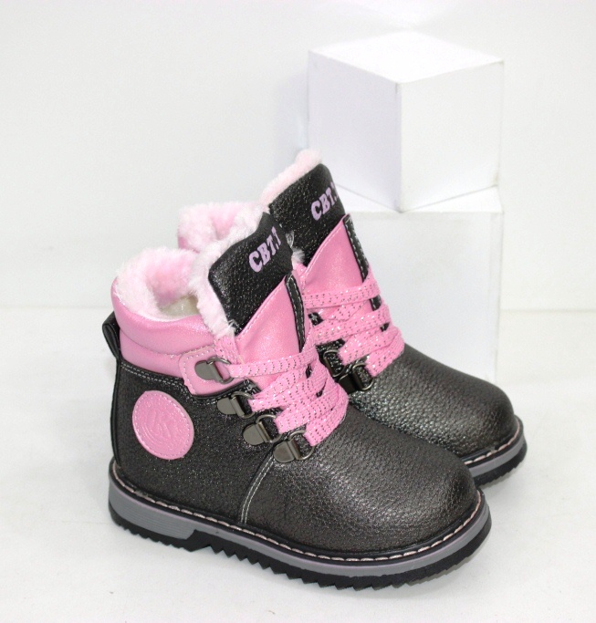 Детские зимние ботинки на маленьких девочек на шнурках и замочке