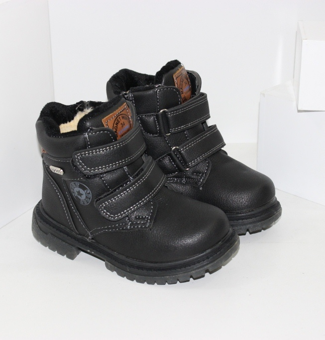 Удобные ботинки детские для мальчиков на двух липучках и молнии